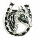 Lucky Horseshoe Crystal Rhodium Finish Horse Brooch Pin BP24