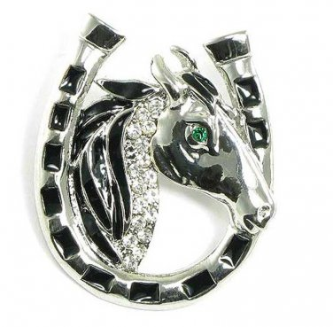 Lucky Horseshoe Crystal Rhodium Finish Horse Brooch Pin BP24