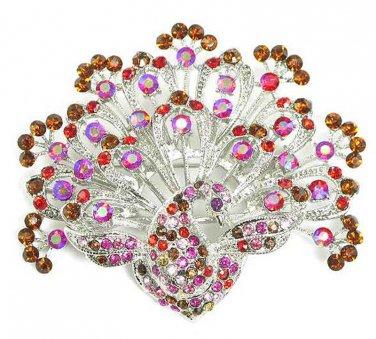 Stunning Pink Red Amber Crystal Paved Rhodium Peacock Brooch Pin BP32