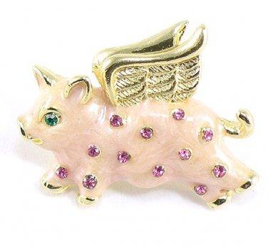 Adorable Pink Austrian Crystal Enamel Flying Pig Brooch Pin BP47