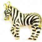 Adorable Gold Black Enamel Zebra Brooch BP51