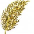 Stunning 4 Inch Fashion Broach Amber Crystal Gold Leaf Brooch BP49