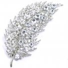 4 Inch Clear Crystal Rhodium Finish Leaf Brooch BP56