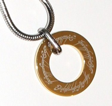 Gold Tungsten Lord of the Rings Pendant SS Chain NP3002