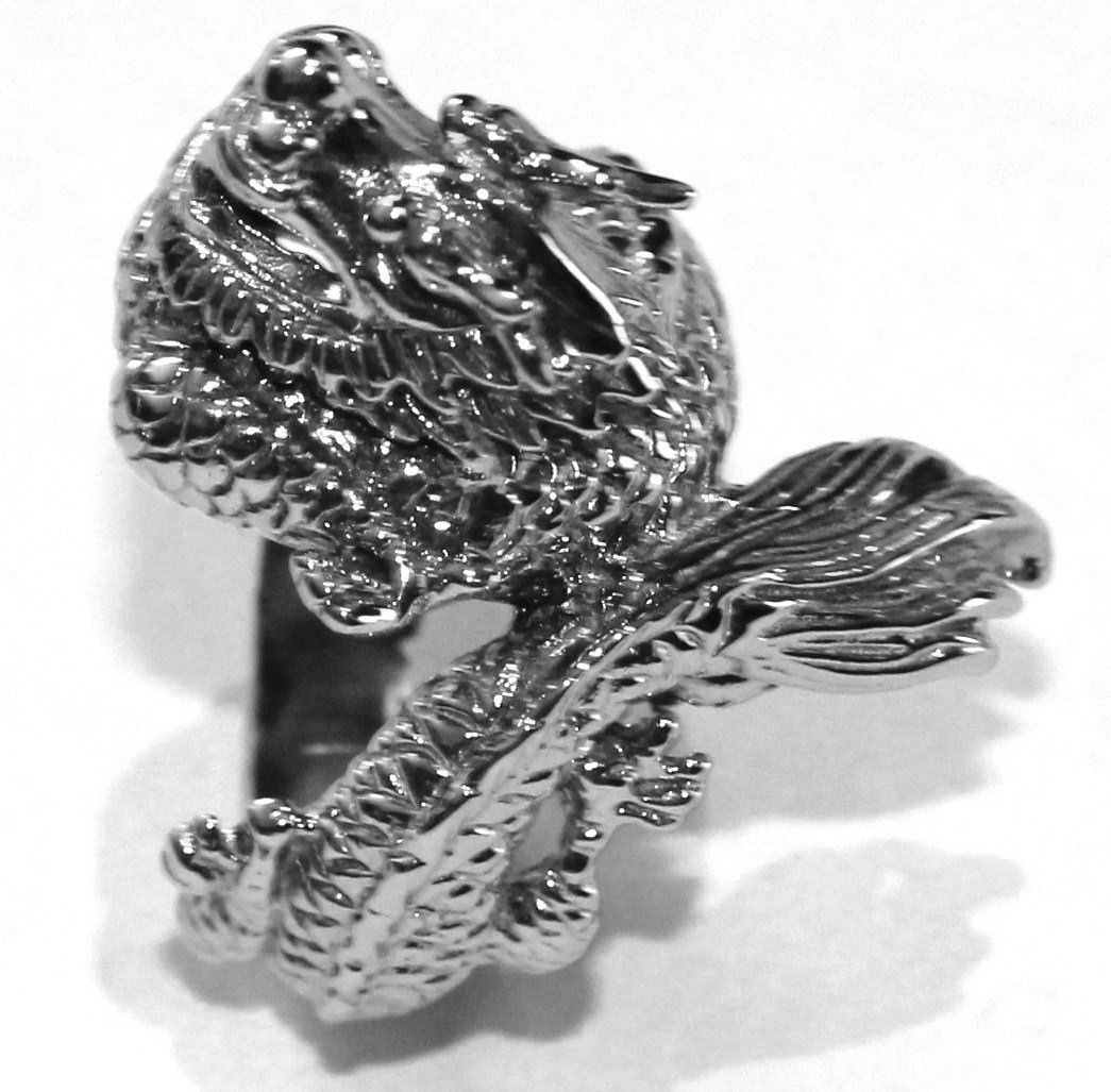 Unisex Carved Dragon Stainless Steel Ring SSR2913