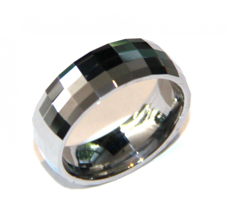 Unisex High Polish Multi Faceted Tungsten Carbide Ring TU3095