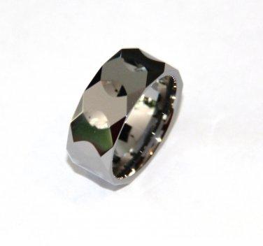 Unisex High Polish Multi Faceted Tungsten Carbide Ring TU3098