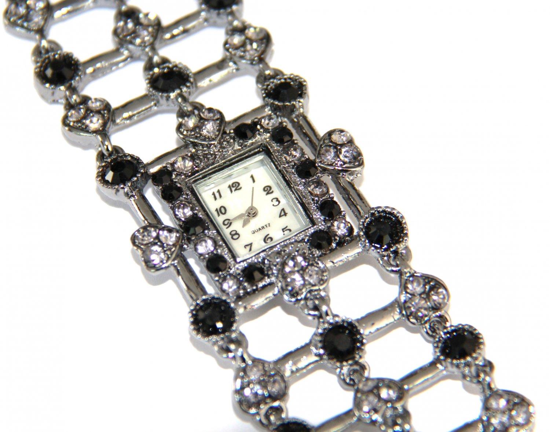 Black / Clear Crystal Pave Gunmetal Toggle Watch WW116
