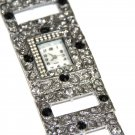 Iced Out Black CZ Antique Silver Fashion Watch WW118