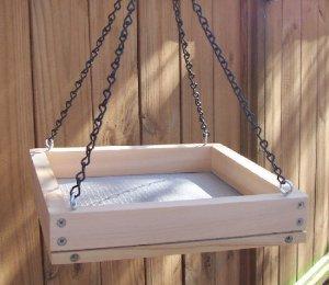 Cedar Hanging Platform Bird Feeder w-Chains - Medium