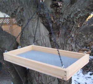 Cedar Hanging Platform Bird Feeder w-Chains - X-Large