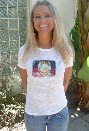 white elephant  yoga natural burnout tee alternative apparel