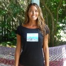 Jamaica Organic Bamboo Soft Black Tee Travel Photo Yoga Coco Paraiso Small