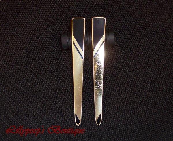 Laurel Burch Earrings Retro 1980s Long Goldtone and Black Geometric Design