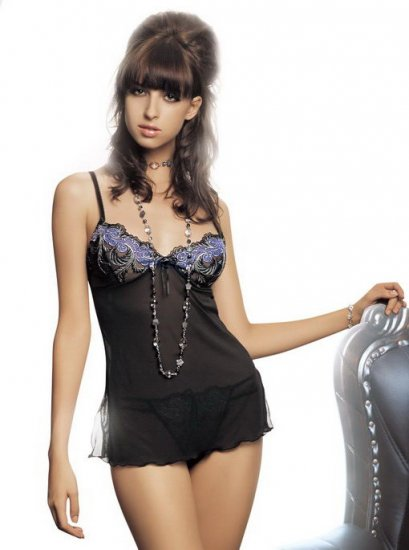 Sheer babydoll with lettice edges