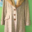 70's Vintage Golden Brown Tweed Coat with Fur Collar