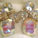 90's Vintage Iridiscent, Aurora Borealis, Tear-Drop Rhinestone Clip-On Earrings