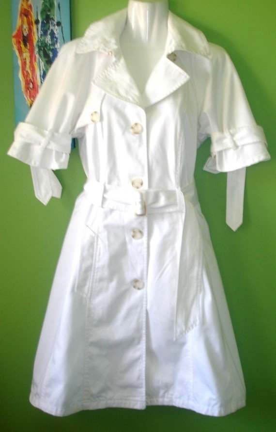 UNITED COLORS OF BENETTON Off-White, Short Sleeve Trench Coat