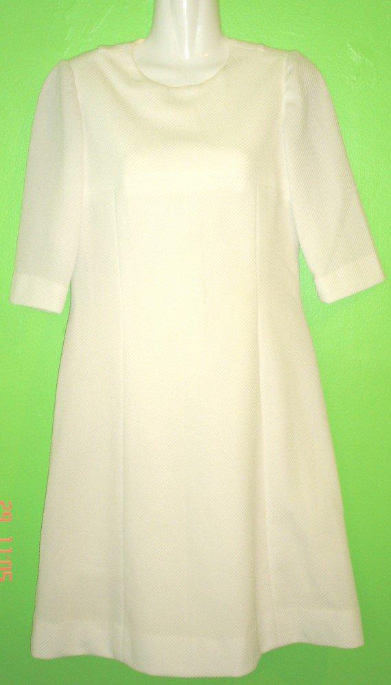 70's HANDMADE PRINCESS CUT WHITE DRESS