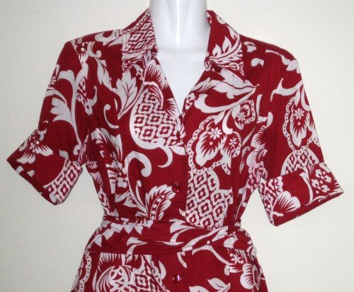 Late 80�s CHADWICKS OF BOSTON Red and White Button-Down Shirt Dress with Matching Baby Romper