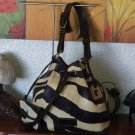 DOONEY & BOURKE Drawstring Zebra Print Leather Sack