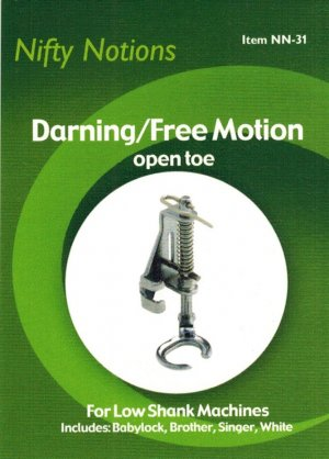 Darning & Free Motion Open Toe Presser Foot for Singer 221 and Other Low Shank Machines - NN31