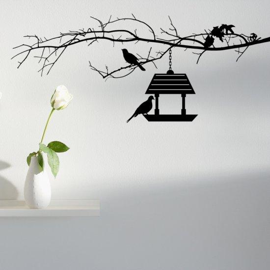 Bird Feeder and Bird on a Branch Wall Decal