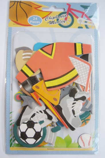 3D Chipboard Sticker Baseball Theme FREE SHIPPING + BUY ANY 2 FREE 1