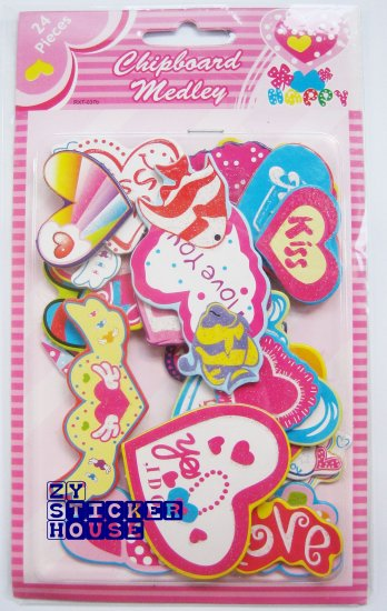 3D Chipboard Sticker Assorted Heart Shape FREE SHIPPING + BUY ANY 2 FREE 1