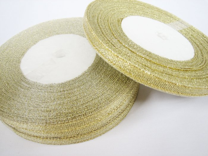 22 meters or 1 roll of 6mm Metallic Gold Lame Ribbon