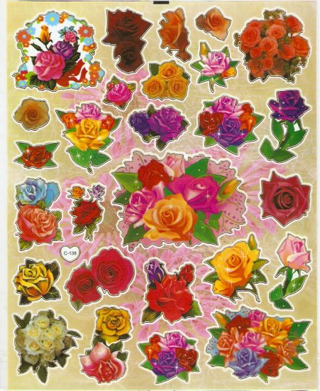5 sheets Assorted Roses Sticker #C138