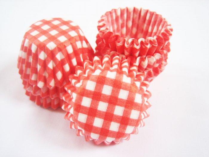 200pcs Mini Paper Cake Cup Checker Prints