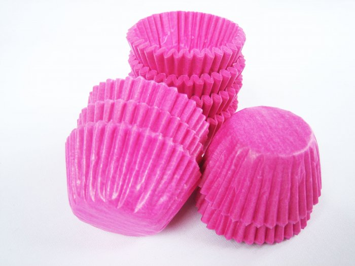 200pcs Mini Paper Cake Cup Hot Pink