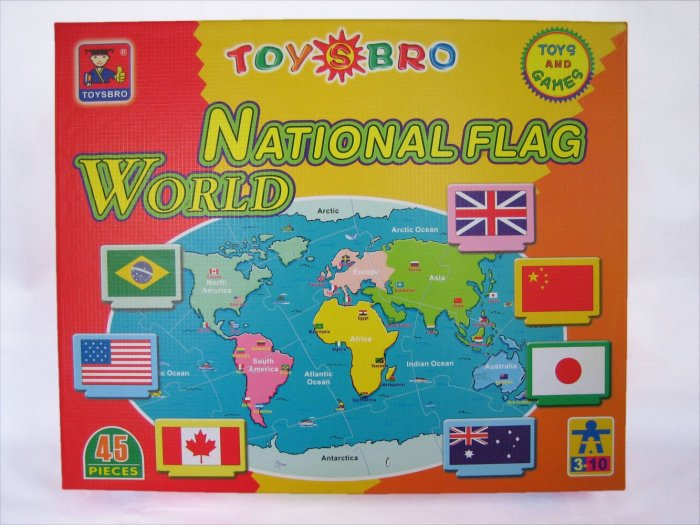 45pcs Continent and National Flag Puzzle