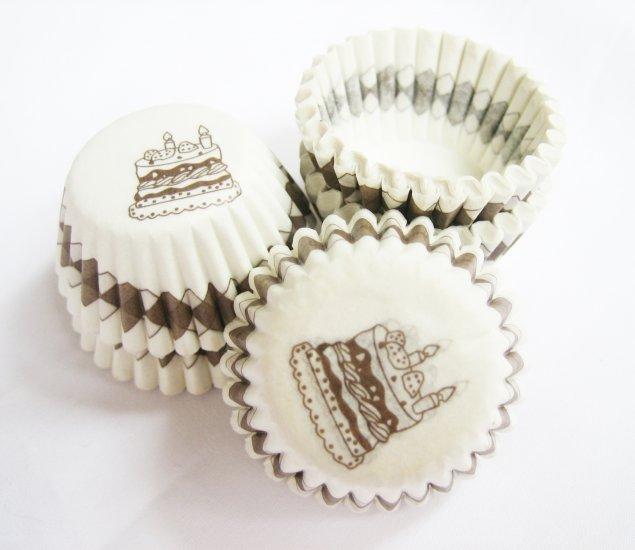 200pcs Mini Paper Cake cup printed Birthday Cake