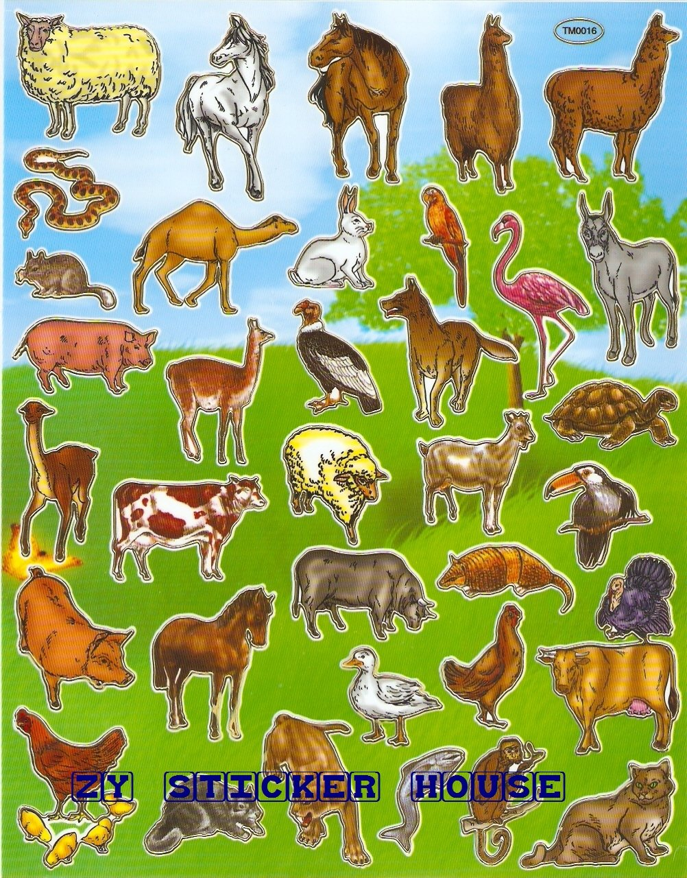 10 sheets BL634 Realistic Farm Animal Removable A4 Sticker
