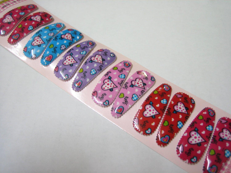 Wholesale 60pcs Love Heart Girl Snap Hair Clip 4.5cm (love3_nhole)