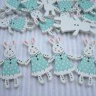 10pcs Wooden Button Rabbit Bunny in Blue Dress