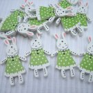 10pcs Wooden Button Rabbit Bunny in Green Dress