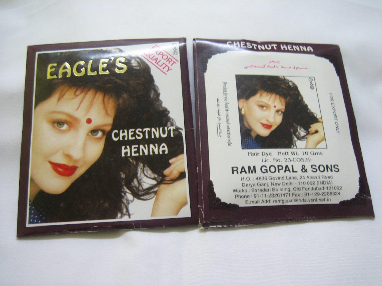 18 sachets Chestnut Henna Eagle brand Hair Dye Colour