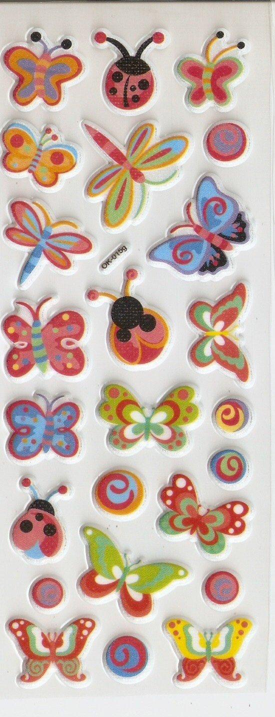 OK015g Butterfly and Ladybug Mini Puffy Sticker FREE SHIPPING