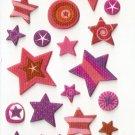 OK031 Assorted Star Design Small Puffy Sticker FREE SHIPPING