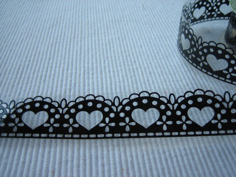 1 roll 24mm x 1m PVC Lace Tape  Heart Design Black Colour
