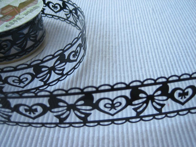 1 roll 24mm x 1m PVC Lace Tape Bow Design Black Colour