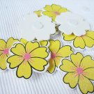 36pcs Wooden Yellow Flower Stick On