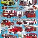 10 sheets E227 Fire Engine Removable A4 Sticker