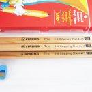 6pcs STABILO TRIO Triangular Jumbo Pencil FREE Sharpener