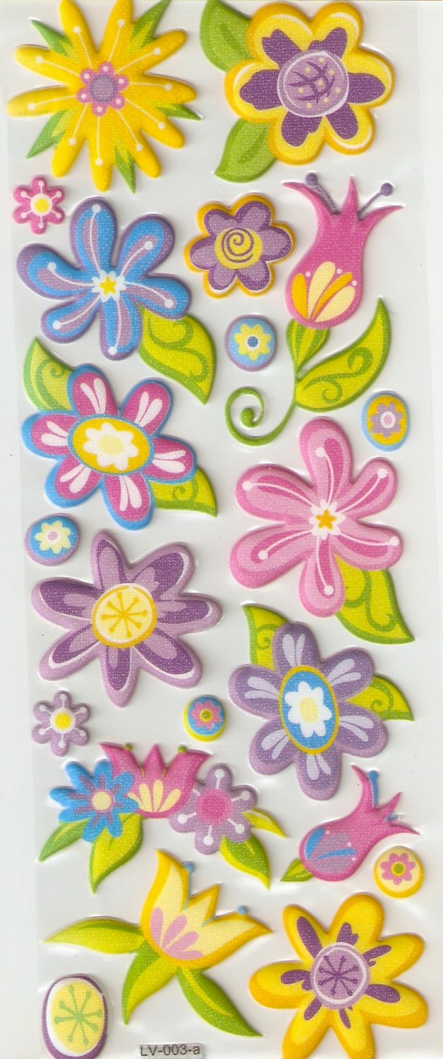 Blooming Flower Small Puffy Sticker #L03a