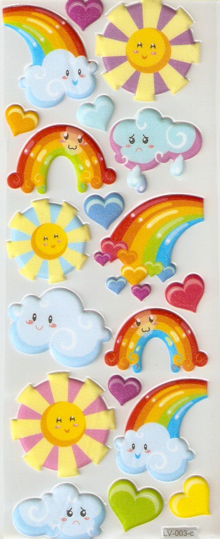 Mr Sun Mrs Cloud and Miss Rainbow Small Puffy Sticker #L03c