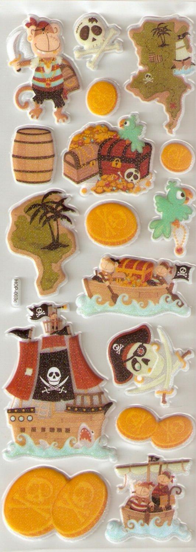 Pirate Quest Small Puffy Sticker #H03c